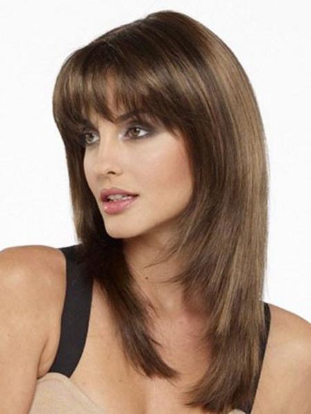 Milanoo Women's Medium Wigs Straight Wigs With Bangs Light Brown Wig In Heat-resistant Fiber