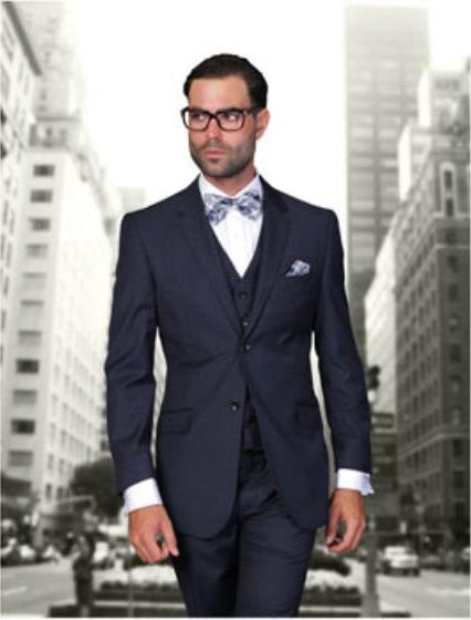 Statement Men's Navy Blue 2 Button Modern Fit Wool Suit