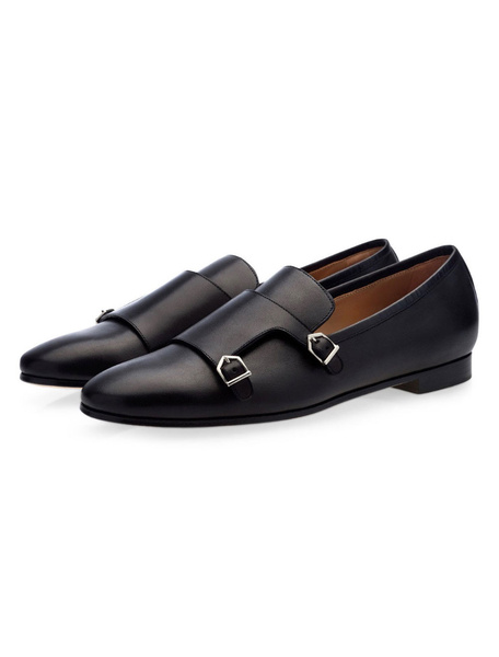 Milanoo Mens Cowhide Monk Strap Leather Shoes Black Loafers Prom Shoes
