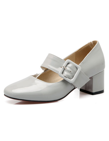 Milanoo Mary Jane Shoes Chunky Heel Square Toe Buckle Pumps For Women