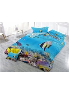 Innovative Aquarium Wear-resistant Breathable High Quality 60s Cotton 4-Piece 3D Bedding Sets