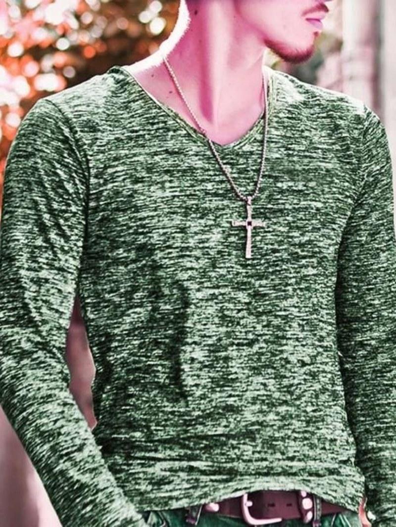 Ericdress V-Neck Slim Fit Plain Mens Casual T Shirts