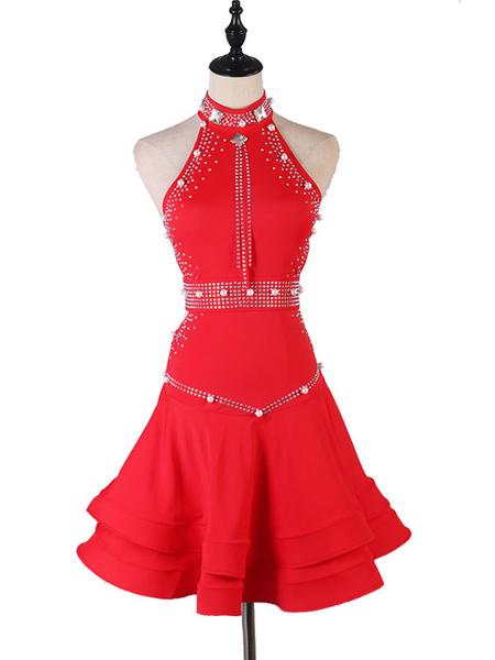Milanoo Latin Dance Dresses Rhinestone Bead Pearl Backless Dancer Dancing Costumes Halloween