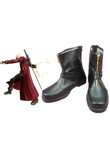 Milanoo Black 1 1/2 Heel Dante Devil May Cry Faux Leather Cosplay Shoes Halloween
