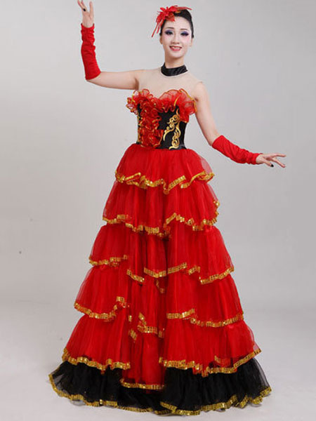 Milanoo Flamenco Girls Rose Off Sleeves Mesh Billowing Dancing Skirt Adults Spanish Dancer Ballroom Dress Paso Doble Costumes Halloween
