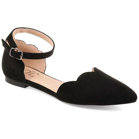 Journee Collection Womens Lana Ballet Flats Buckle Pointed Toe, 9 Medium, Black