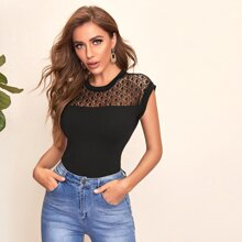 Lace Yoke Solid Top