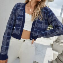Plaid Crop Fluffy Cardigan