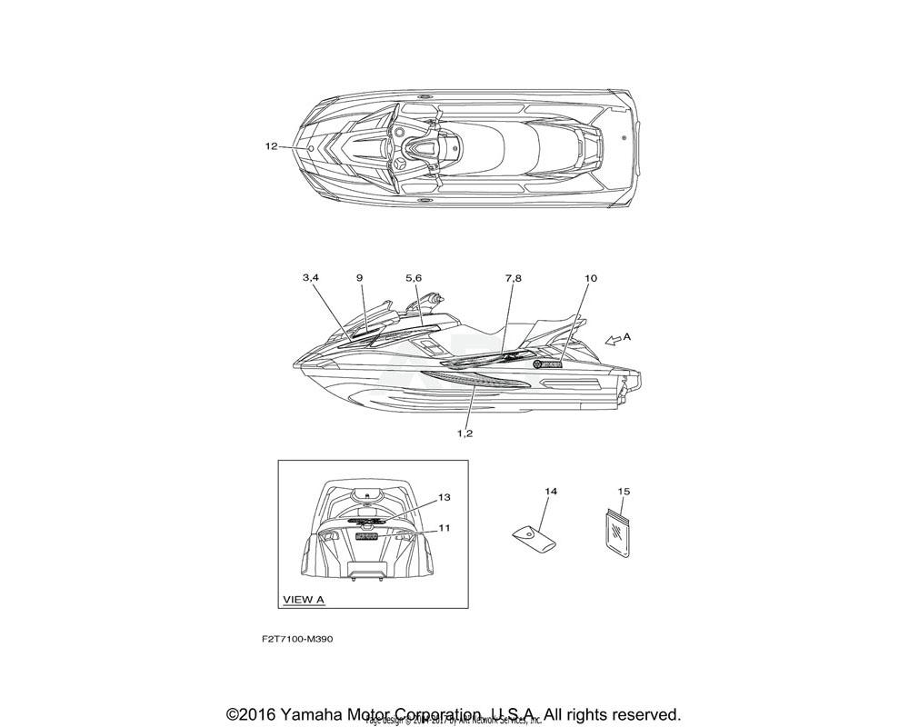 Yamaha OEM F2T-U417C-30-00 GRAPHIC 2 (RH)