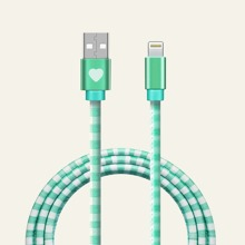 1pc Plaid iPhone Data Cable
