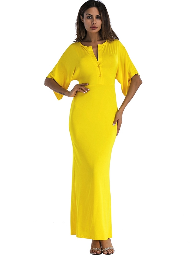 Ericdress Ankle-Length Half Sleeve Button Bodycon Dress