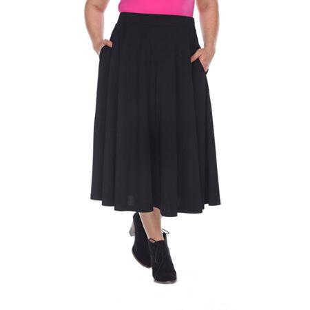 White Mark Tasmin Womens Stretch Midi Flared Skirt-Plus, 3x , Black