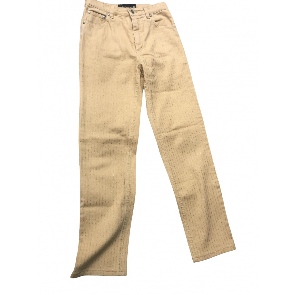 Roberto Cavalli \N Gold Cotton Trousers for Women 38 IT
