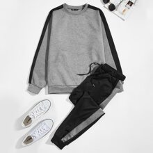 Guys Contrast Sideseam Pullover & Sweatpants Set