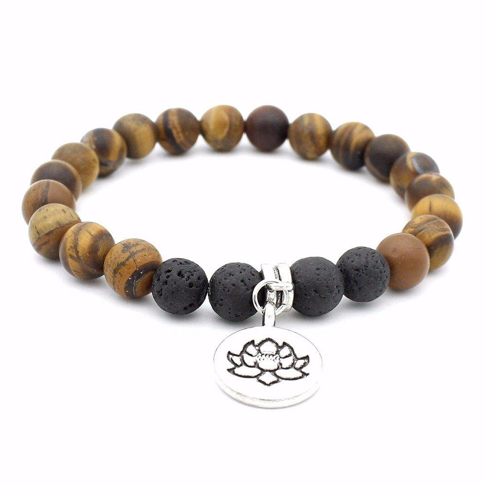 Retro Lotus Volcanic Stone Beaded Bracelet Yellow Pendant Bracelet For Men Women