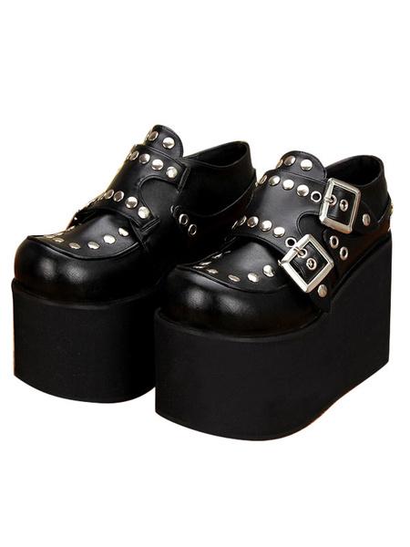 Milanoo Gothic Lolita Shoes Flatform Rivets PU Leather Punk Lolita Pumps