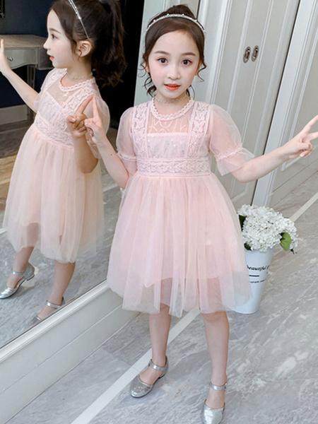 Milanoo Toddler Short Sleeves Dress White Kids\'s Polyester Burtterfly Girl Summer Dress