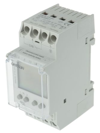 Grasslin 2 Channel Digital DIN Rail Time Switch Measures Hours, Minutes, 110 → 230 V ac