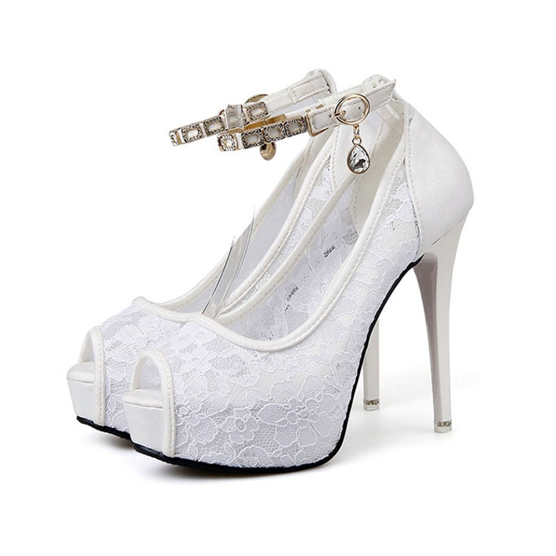 Ericdress Lace Line-Style Buckle Stiletto Heel Casual Thin Shoes