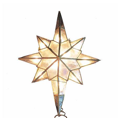 Kurt Adler Kurt Adler 10-Light Capiz Star Clear Treetop Star Christmas Tree Topper, One Size , No Color Family