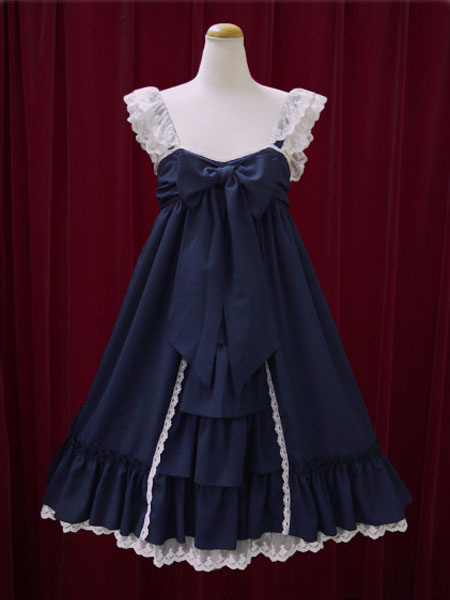 Milanoo Classic Lolita Dress JSK Lace Cotton Two Tone Ruffled Bow Lolita Jumper Skirt