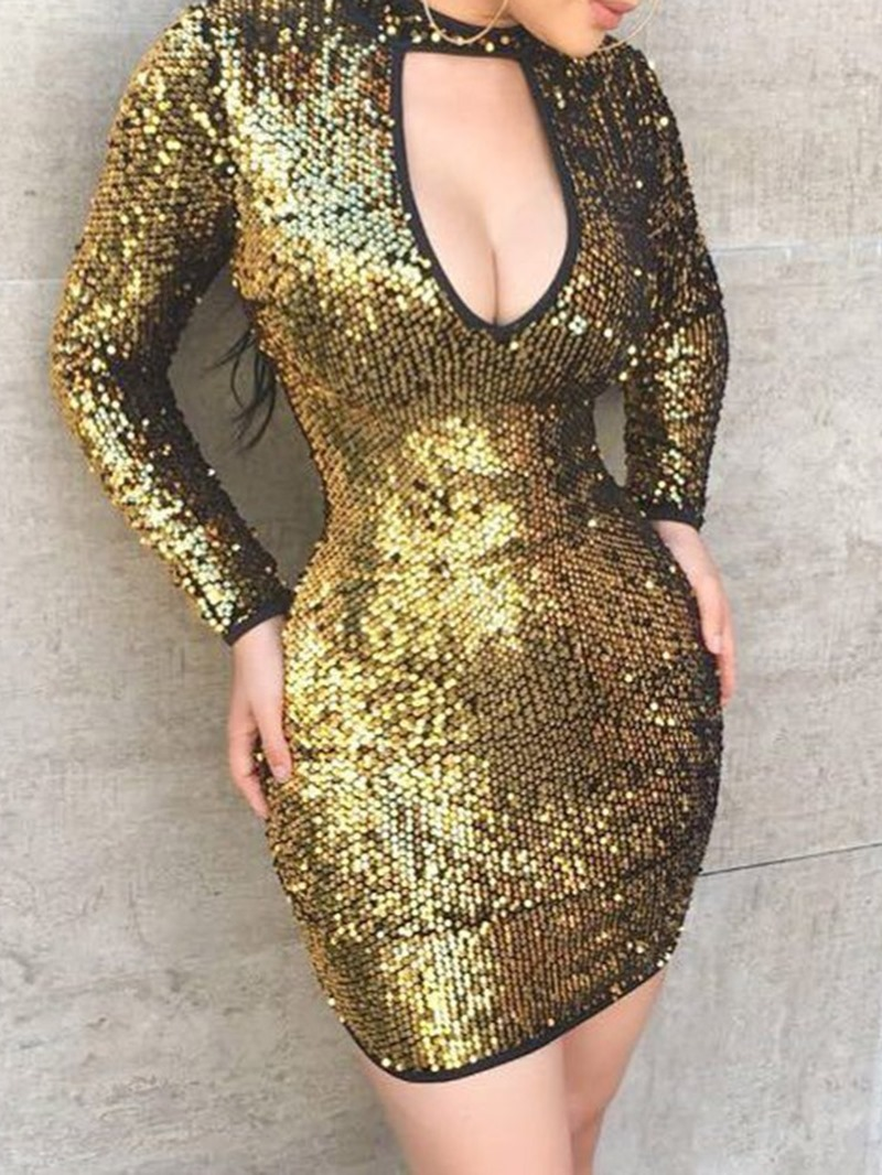 Ericdress Sequins Long Sleeve Above Knee Plain Regular Dress