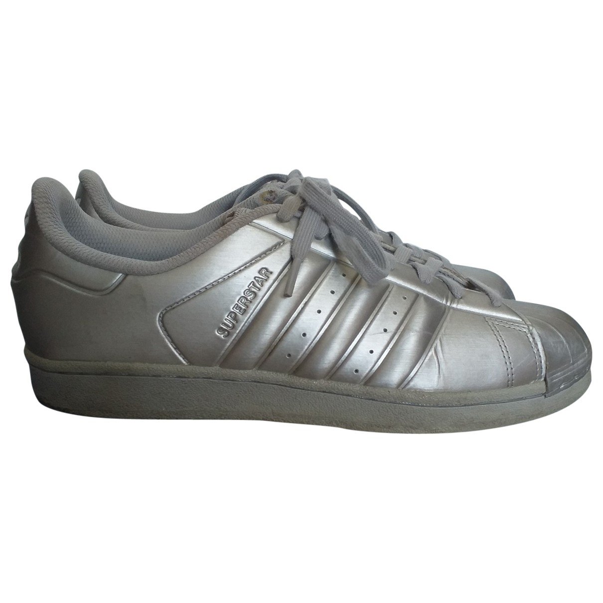 Adidas Superstar Silver Leather Trainers for Women 7 UK