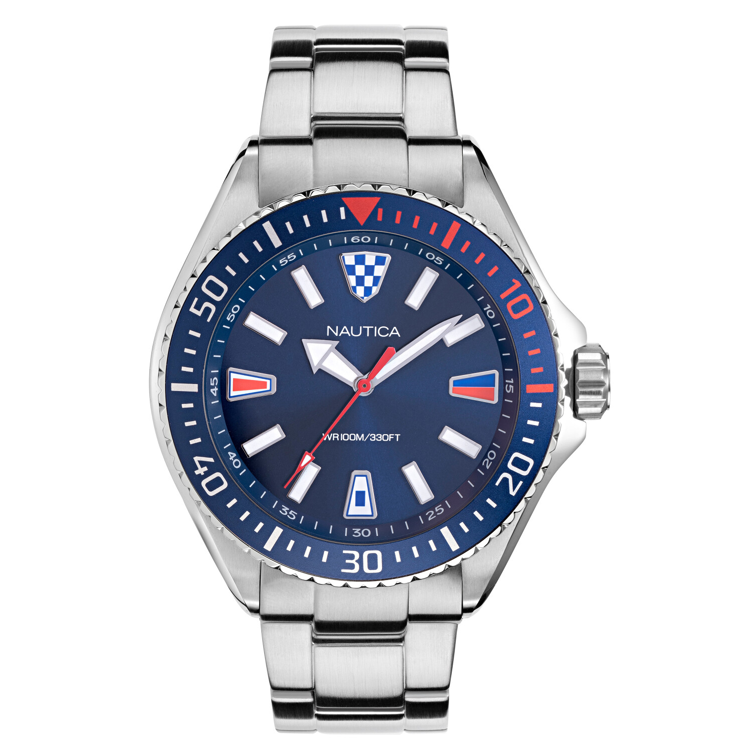 Nautica Watch NAPCPS904 Crandon Park Beach, Analog, Water Resistant, Stainless Steel Strap, Deployment Buckle, Luminous, Silver