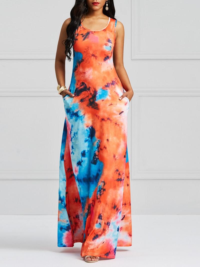 Ericdress Sleeveless Tie-Dye Women's Dress