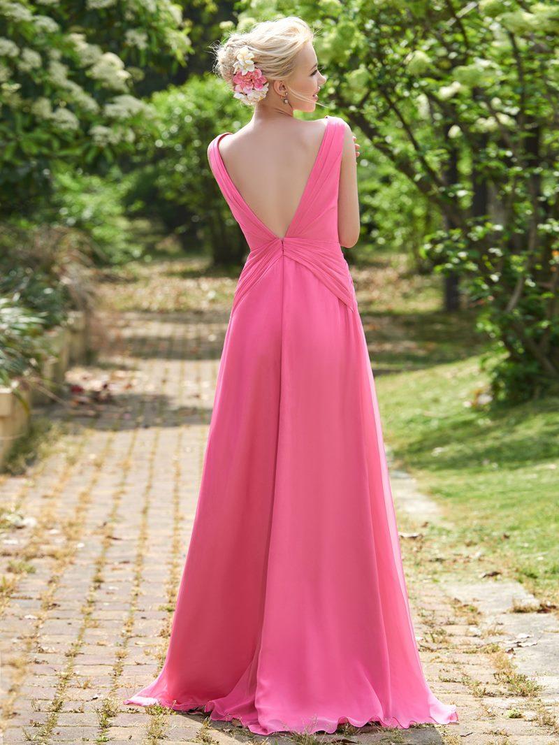 Ericdress V Neck Beading Long Bridesmaid Dress