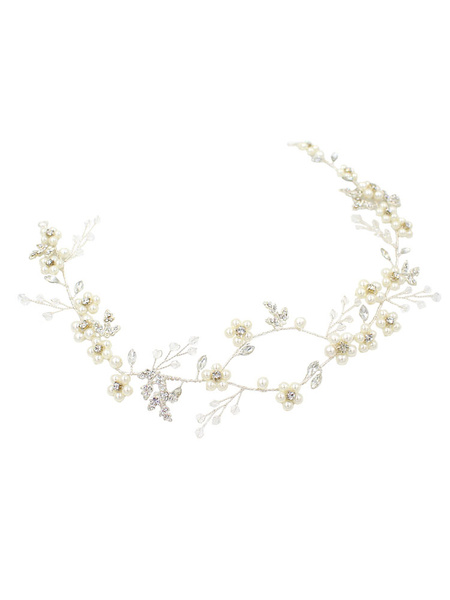 Milanoo Silver Bridal Headpieces Pearls Headband Wedding Hair Accessories