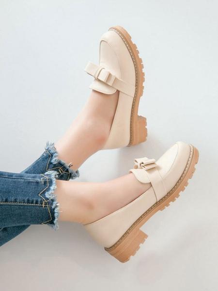 Milanoo Lolita Pumps Footwear Bows Round Toe PU Leather Lolita Shoes