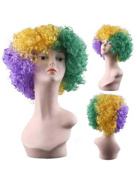 Milanoo Carnival Costume Wig Wild Curl Up Afro American Mardi Gras Wig