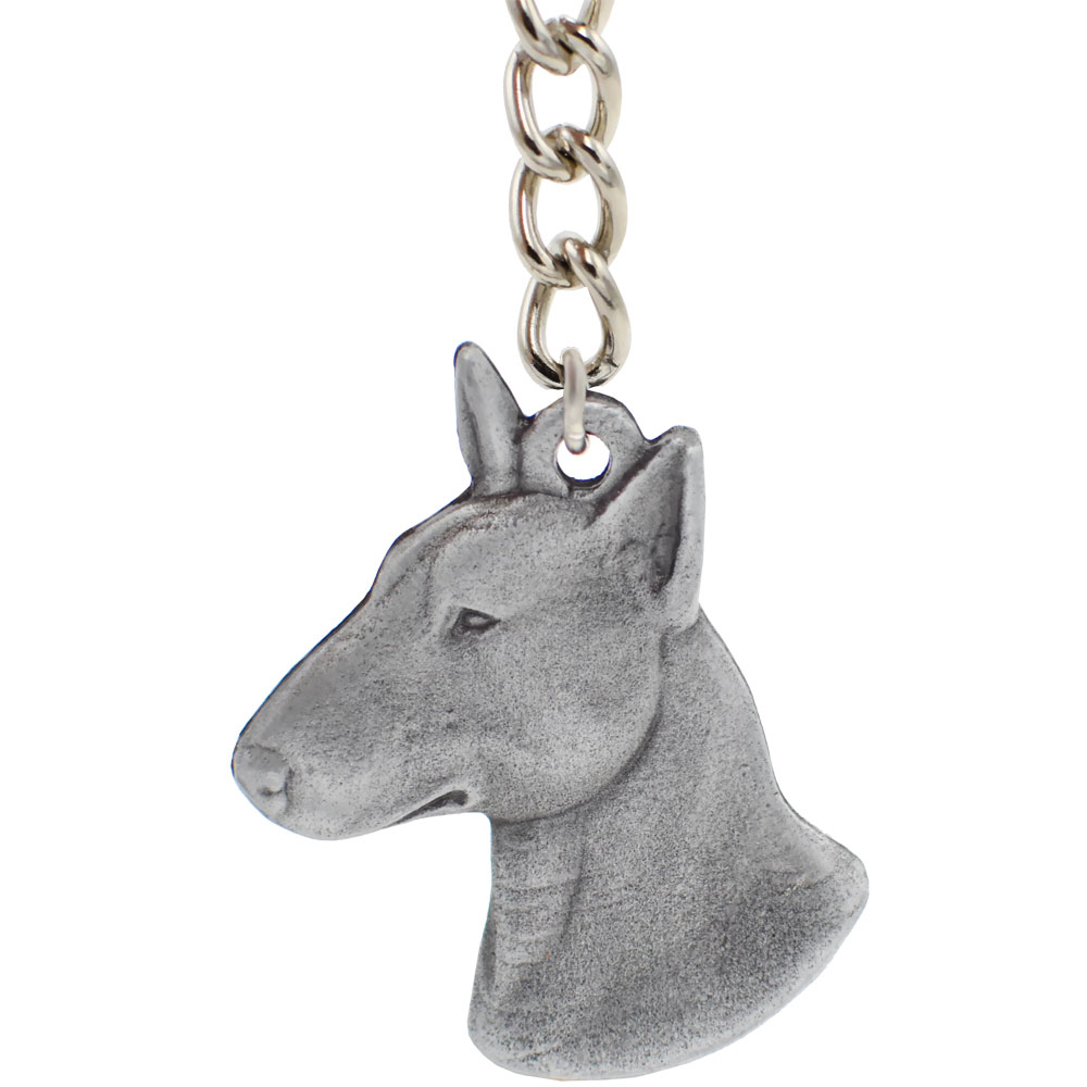 Dog Breed Keychain USA Pewter - Bull Terrier (2.5