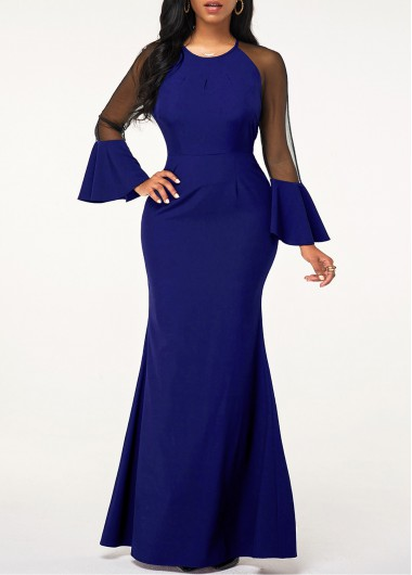 Rosewe Women Royal Blue Mermaid Hem Maxi Evening Party Dress Solid Color Flare Cuff Mesh Panel Round Neck Elegant Dress - L