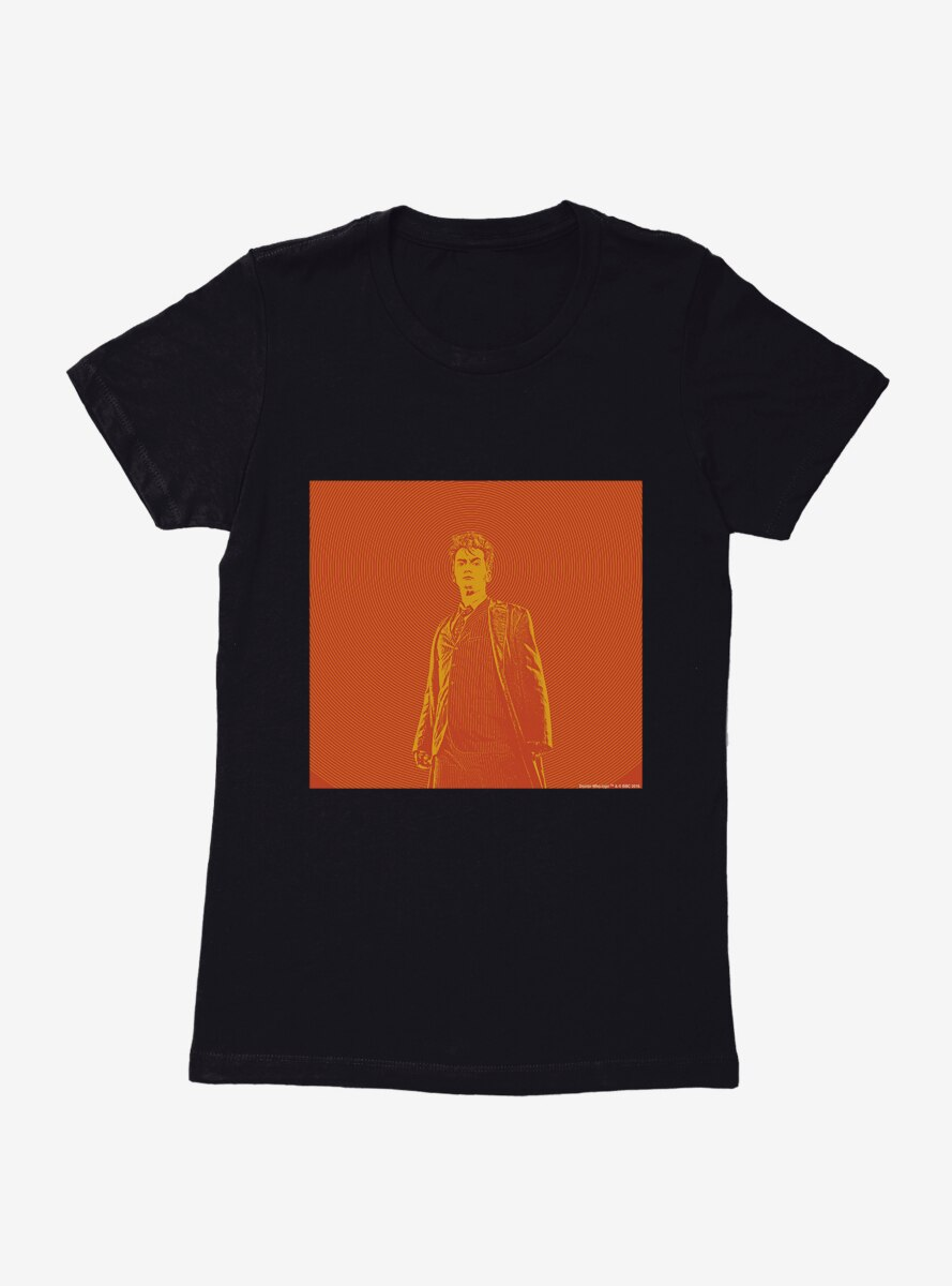 Doctor Who The Tenth Doctor Orange Outline Womens T-Shirt