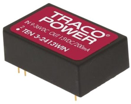 TRACOPOWER TEN 3WIN 3W Isolated DC-DC Converter Through Hole, Voltage in 9 → 36 V dc, Voltage out 3.3V dc