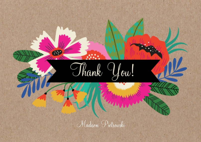 Thank You Cards 5x7 Cards, Premium Cardstock 120lb with Rounded Corners, Card & Stationery -Birthday Flowers