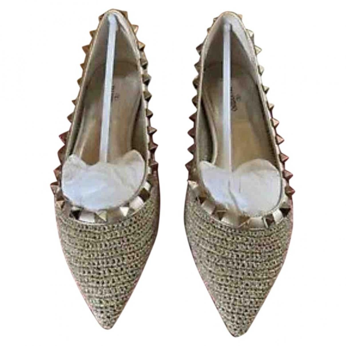 Valentino Garavani Rockstud Gold Cloth Ballet flats for Women 36 EU