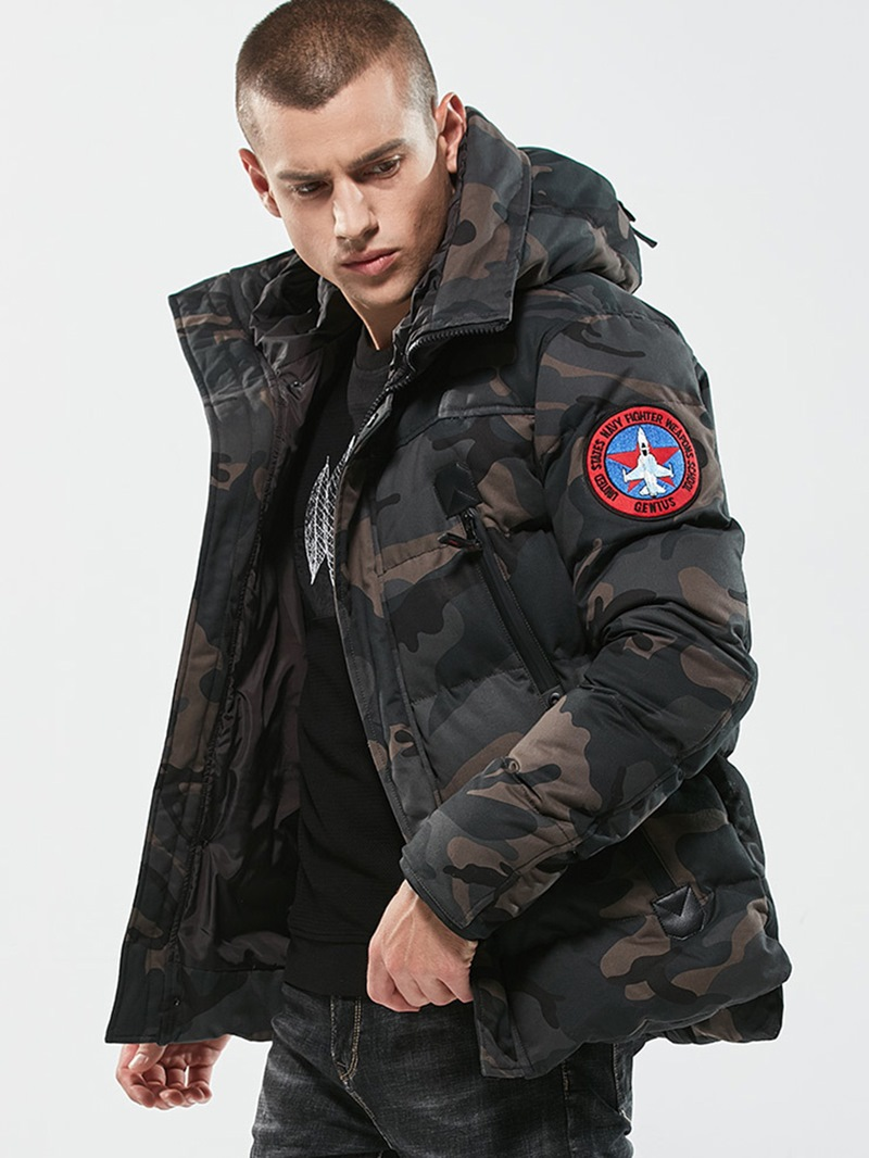 Ericdress Camouflage Zipper Cotton Casual Slim Men's Winter Coat