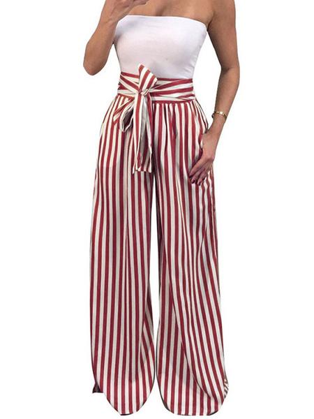 Milanoo Women Summer Pants Striped Drawstring High Waist Long Wide Leg Pants