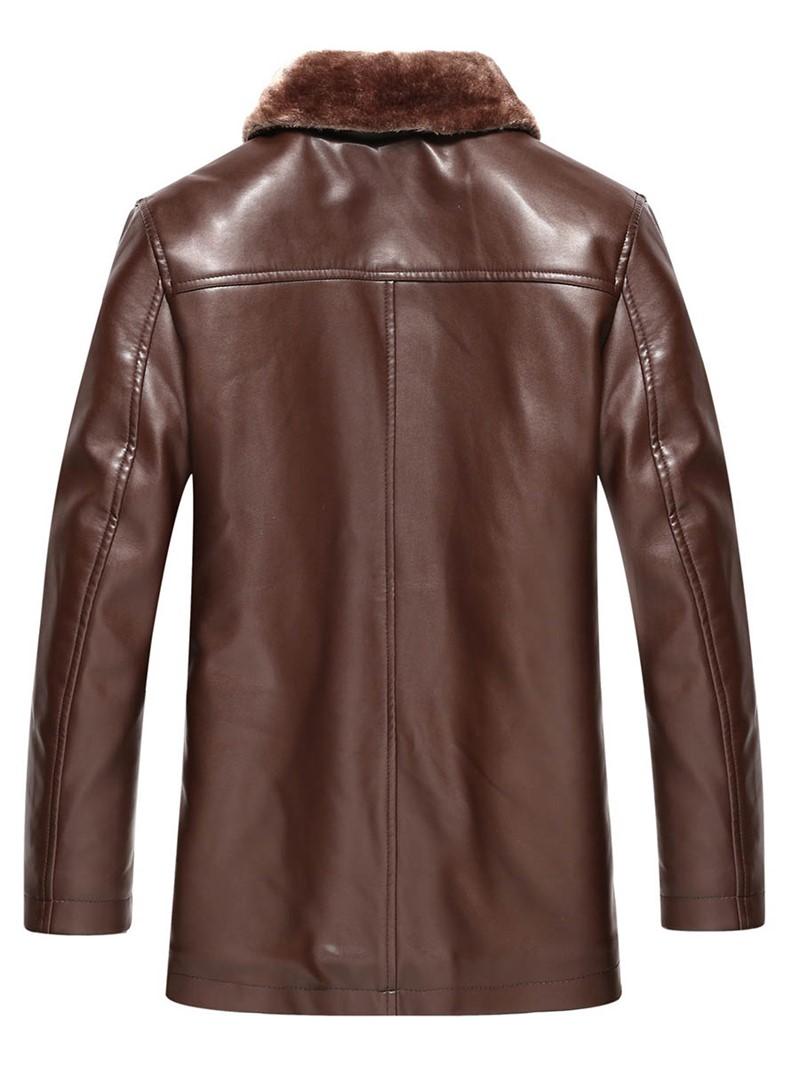 Ericdress Lapel PU Mid-Length Men's Winter Coat