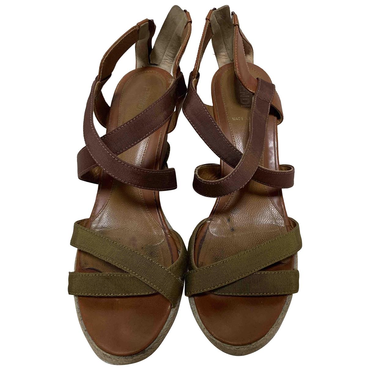 Fendi \N Brown Cloth Sandals for Women 37 EU