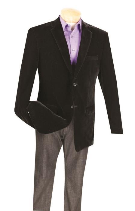 Black Big/Tall Blazers Clearance Cheap Velvet Velour Blazer/Sport Coat