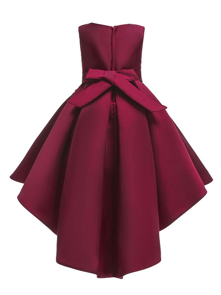 Milanoo Flower Girl Dresses Red Satin Asymmetrical A Line Bow Sash Lace Beaded Kids Formal Dress