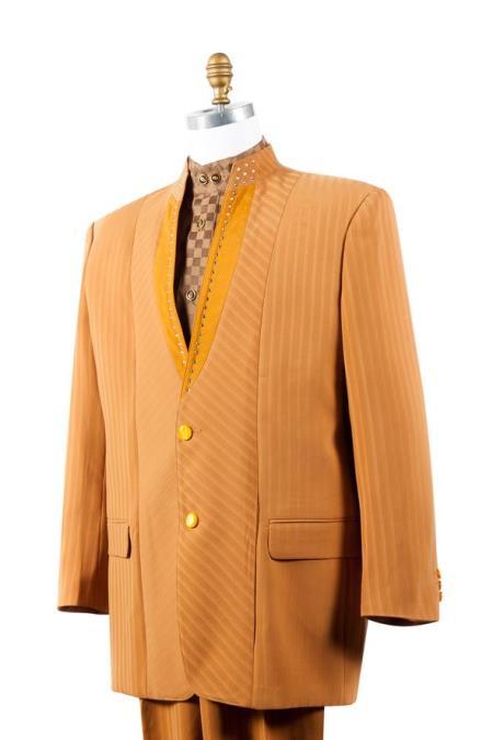 Mens Button Fastener Rhinestone Accents Cross Stripe Camel Zoot Suit