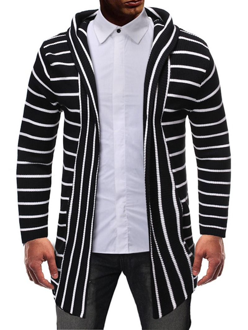 Ericdress Stripe Mid-Length Casual Men's Slim Sweater