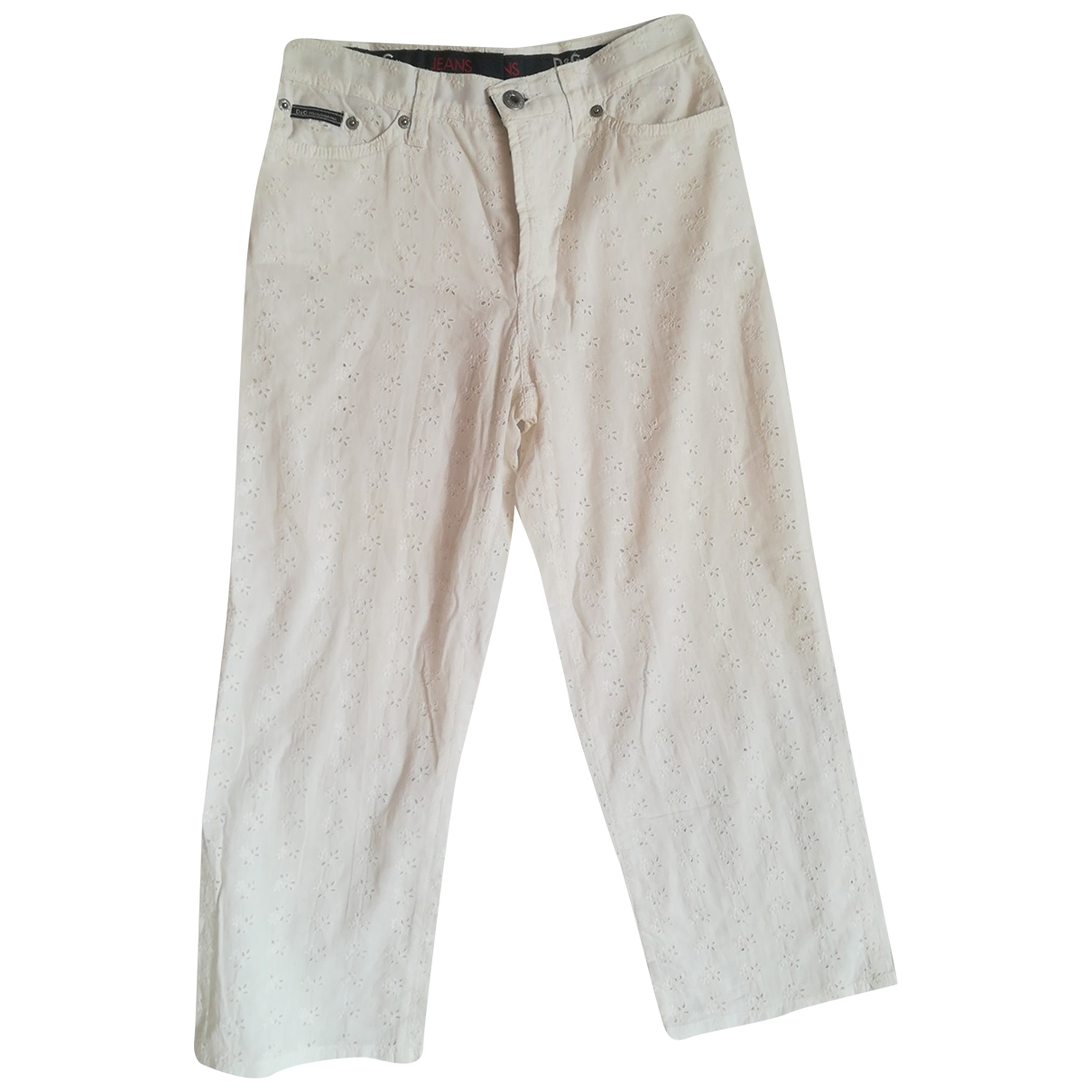 D&g \N White Cotton Trousers for Women 42 IT