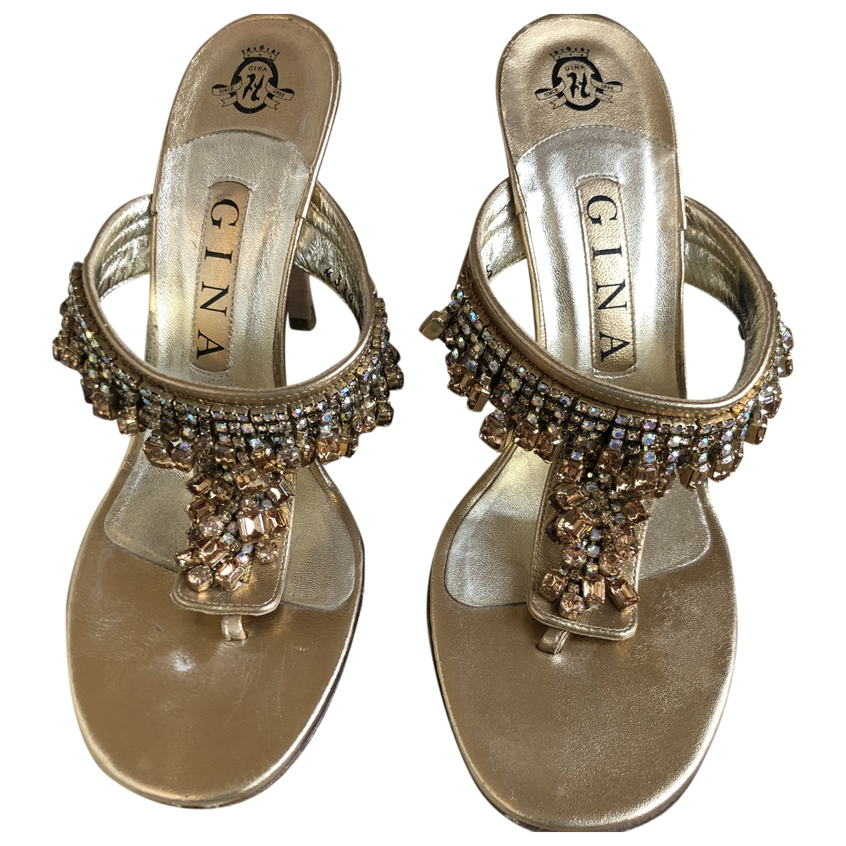 Gina \N Gold Leather Heels for Women 5 UK