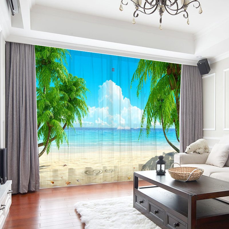 3D Beach Scenery Decoration Sheer Curtains for Living Room 30% Shading Rate No Pilling No Fading No off-lining